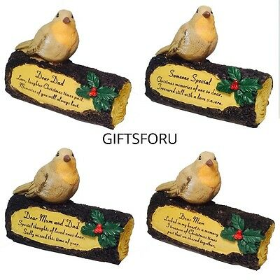 Robin on Log Christmas Grave Memorial Ornament For Mum Dad Someone Special