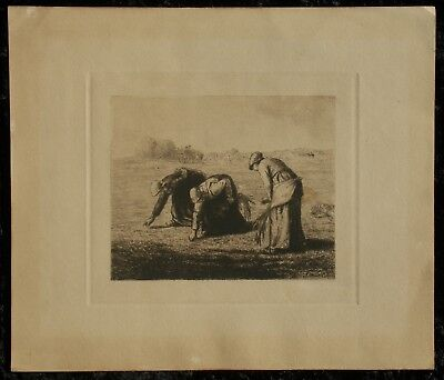 Antique JEAN CHARLES MILLET Etching of the Gleaners JF Millet