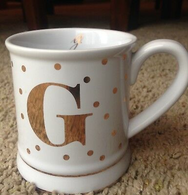 New Pier 1 Imports P Monogram Ceramic Coffee Mug Tea Cup Gold Polka Dot