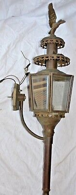 Antique  Brass Lantern Wall Sconce Light Fixture Glass Panels Eagle Final