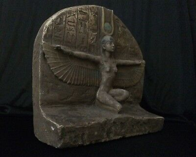ANCIENT EGYPTIAN ANTIQUES GODDESS Winged ISIS EGYPT STATUE STELA Stone –1085 BC