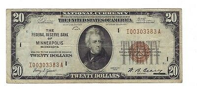 Scarce Minneapolis $20 Federal Reserve Bank Note Frbn I00303383A