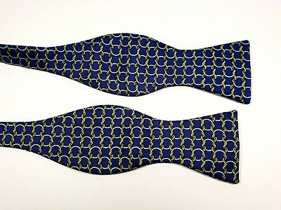 Vintage Hermes Paris 100% Silk Bow Tie Made in France Blue Yellow