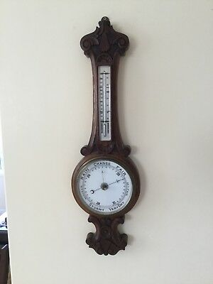 VICTORIAN LARGE ANEROID BAROMETER HAND CARVED IN ENGLISH OAK c1905