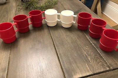 TUPPERWARE Vintage Coffee Mugs Stackable Lot of 8 Red And White #1312 camping