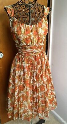 4457b6c84f26 Vintage 1950s SAKS Fifth Avenue PARTY Dress Rose Floral Chiffon Tea Prom  VLV SFA
