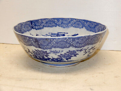 Antique Blue And White Imari Japanese Large Bowl