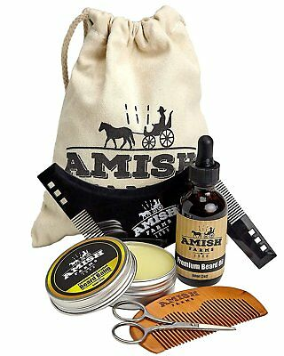 Amish Farms Beard Grooming Kit, 6 Piece Set – Leave In Beard Balm, Wooden...