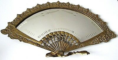 ANTIQUE VICTORIAN BRASS FAN DRESSER MIRROR w/ ETCHED GLASS DESIGN