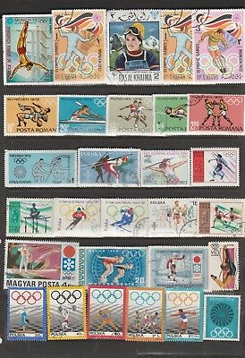 55 Individual Used International Stamps Depicting Olympic Games Various Years.