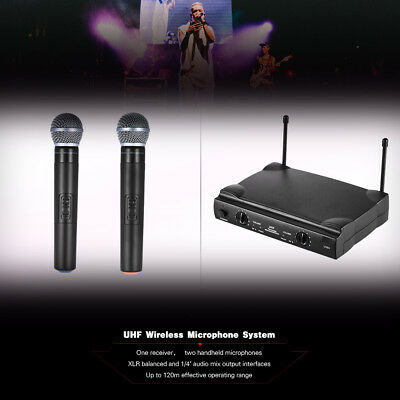 UHF Dual Channels Wireless Microphone Mic System with 1 Receiver 2 Handheld P2U7