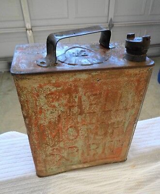 "SHELL Gas Oil Can 2 Gallon "" Shell Motor Spirits"" Solid Condition"