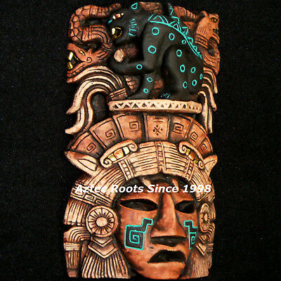 Aztec Jaguar Mask Head Mayan Maya Inca Mexico Sculpture Wall Plaque Aztlan Art
