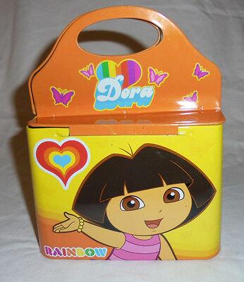 "Dora the Explorer Rainbow Tin Box 8"" Metal Toy Empty Canister Collectible"