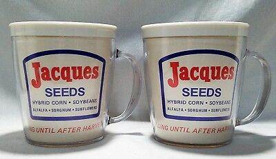 Pair of Vintage Jacques Seeds Plastic Coffee Mugs Cups Excellent Condition!