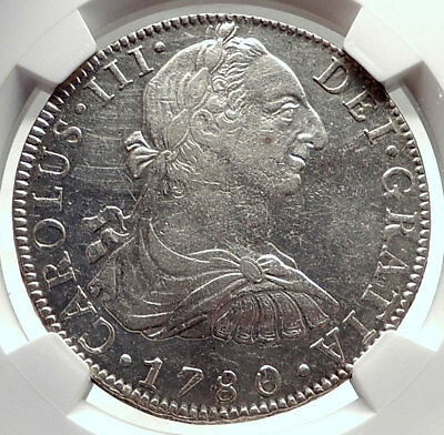 1780 MEXICO under SPAIN King CHARLES III Silver Antique 8 Reales Coin NGC i74013