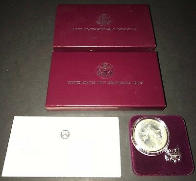 """1988 """"S"""" Olympic Proof Silver Dollar Commemorative - Complete w/ Packaging"""