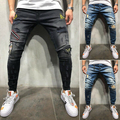 Fashion Men's Ripped Skinny Jeans Destroyed Frayed Slim Fit Denim Pants Trousers