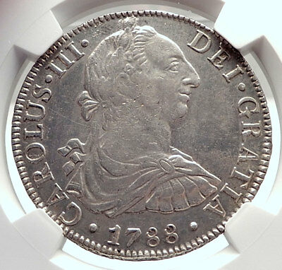 1788 MEXICO under SPAIN King CHARLES III Silver Antique 8 Reales Coin NGC i74014