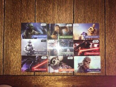 "Disney Gift Cards ""NO VALUE"" Lot of 9 Reloadable Star Wars"