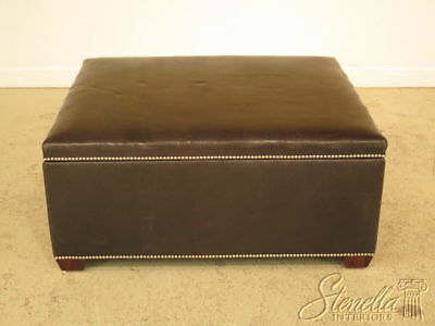 F23363C: Large Lift Top Leather Ottoman Or Coffee Table w. Tack Head Trim