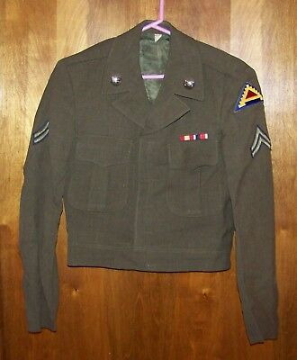Ike Jacket w/7th Army Patch & US/Artillery Collar Pins+2 Ribbons