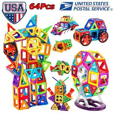 64Pcs Magical Magnetic Building Blocks Educational Toys For Kids Colorful Gift S