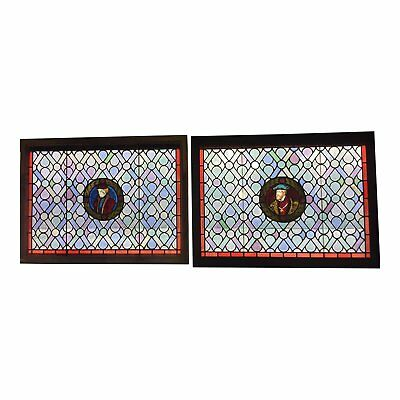 Antique Gothic Stained Glass Panels- a Pair