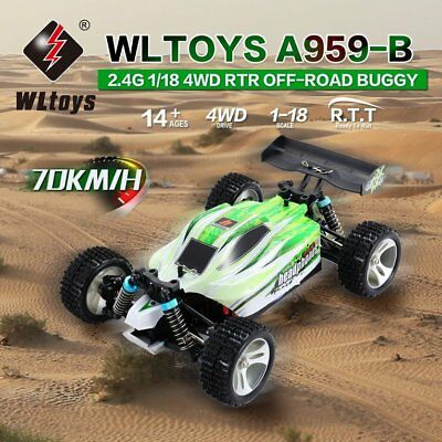 WLtoys A959-B 2.4G 1/18 Scale 4WD 70KM/h Electric RC RTR Off-road Buggy ES ZL3