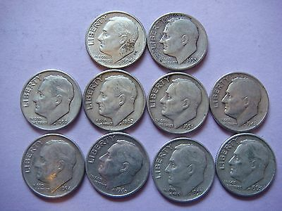 Lot of 10 Roosevelt  Dimes nice old coins 90% Silver   #9441