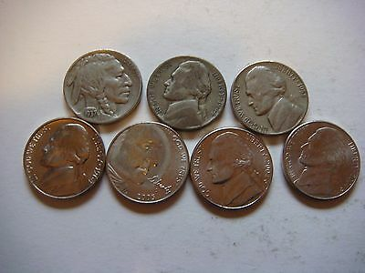Lot of 7  Nickels U.S five cent Coins  nice  mixture #9603