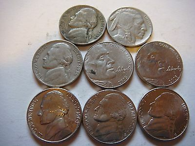 Lot of 8  Nickels U.S five cent Coins 1929, 1943P ,1939, 2004D, 2005D   #9601