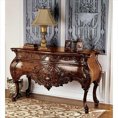 """58"""" European Hand-carved Solid Mahogany Console"""