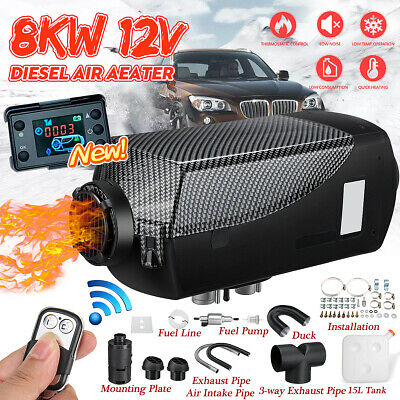 8KW 12V Diesel Air Heater 8000W LCD Thermostat+15L Tank T-Pipe Fr Car Truck Boat
