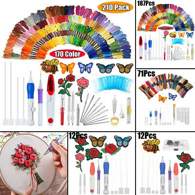 8 Types Magic DIY Embroidery Needle Pen Knitting Sewing Craft Tool Kit +Threads