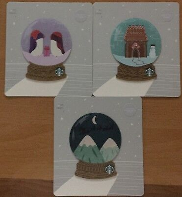 "Lot 3 Starbucks ""CRYSTAL BALL"" CHRISTMAS 2018 gift card set NEW"