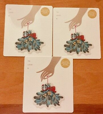 "Lot 3 Starbucks ""MISTLETOE BRANCH"" CHRISTMAS 2018 gift card set NEW"
