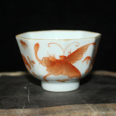 Chinese Old Marked Iron Red Butterflies Love Flowers Pattern Porcelain Cup