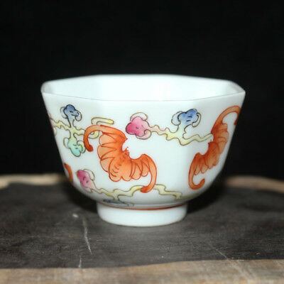 Chinese Old Marked Famille Rose Colored Bats Pattern Porcelain Cup