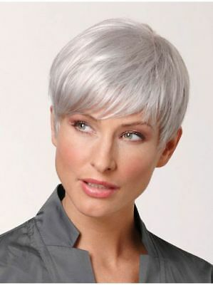 Short Pixie Wavy Silver White Synthetic Wig For Elderly Ladies Natural Hair Wig 12 99 Picclick
