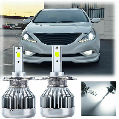 2pcs H7 Led Headlight Bulbs Kit Low High Beam 30w 6500k For Hyundai Sonata 12