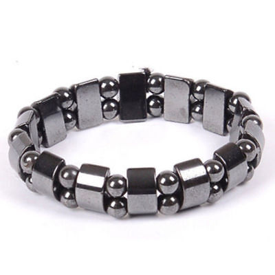 Black Magnetic Hematite Healing Mens Loose Beads Bracelet Stretchy Meditation