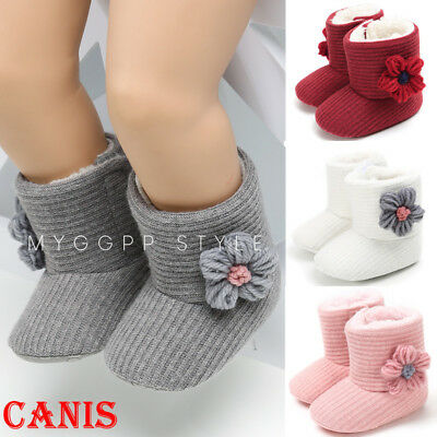 Baby infant Girls Winter Warm Boots Newborn Toddler Soft fleece Sole Shoes 0-18M