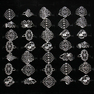 20pcs Wholesale Jewelry Lots Mixed Style Tibet Silver Vintage Rings Free Ship