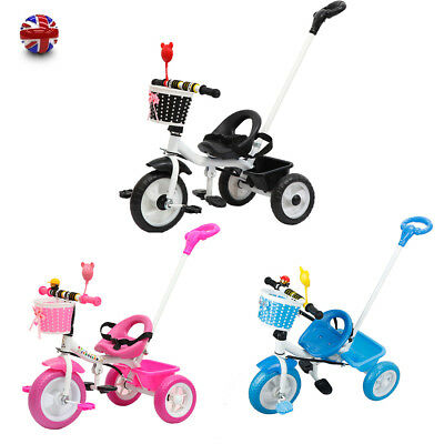 fa3679fb62b Kids My First Trike Boys Girls Ride On Bike Parent Handle Push Along  Tricycle UK