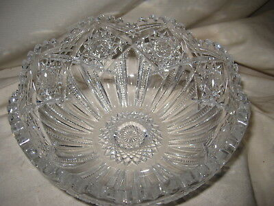 "J Hoare Corning 1853 Marked 8"" Cut Lead Crystal Glass Bowl Pluto Pattern ABP"