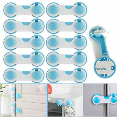 10PCS Baby Child Kids Safety Locks Adhesive Pads For Cabinet Drawer Cupboard AU