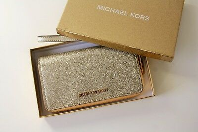 718f0790c6bd1 MICHAEL KORS Portemonnaie GIFTABLES LG FLAT CASE Leather pale gold mit  Glitzer