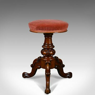Antique, Piano Stool, Walnut, Adjustable, English, Victorian, Music Circa 1860