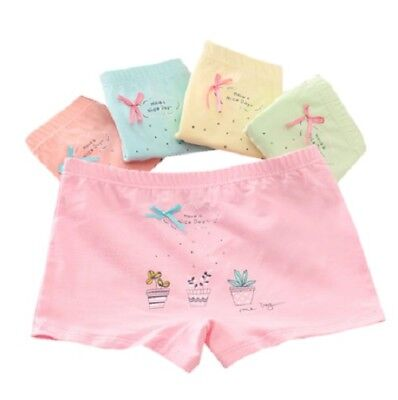 4 Pcs Set Girls Boxer Underwear Baby Kids Soft Flat Angle Pure Cotton Underpants